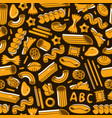 seamless pattern with varieties of pasta vector image