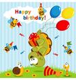 birthday turtle flown on balloons vector image