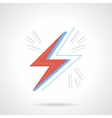 Red lightning flat color design icon vector image