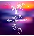 Blue ray sunset summer card invitation vector image