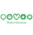 christmas hand drawn wreath set vector image