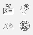 management icons set collection of human mind vector image