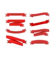 Set of red retro ribbons isolated on white vector image