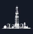 white silhouette drilling rig vector image