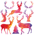 Polygon christmas deer set vector
