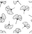 black and white ginkgo leaves seamless pattern vector image