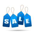 Blue sale tags Concept of discount shopping vector image