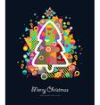 Christmas tree colorful retro greeting card vector image