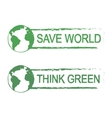 Save world think green sign with planet vector image