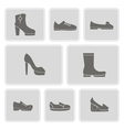 set of monochrome icons with shoes vector image