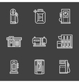 Simple line white gas station icons vector image