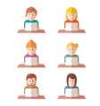 Set of people with computer icons avatar vector image vector image