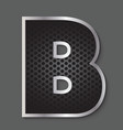 Metal grid font - letter B vector image
