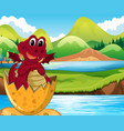 red dragon hatching egg vector image