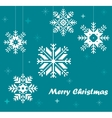 Snowflakes on the blue background vector image vector image