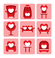 set of cute chair for valentine day vector image vector image