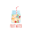 Hand drawn logo with fruit water in mason jar with vector image