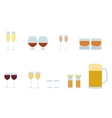 different alcohol glasses icons vector image