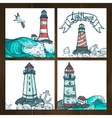 Lighthouse Cards Set vector image