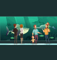 people in aquarium design composition vector image