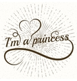 Princess word letters with heart vector image