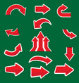 red arrow sticker on green background vector image