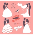 Set of elegant wedding couples in silhouette vector image