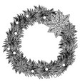 silhouette pine arch with poinsettia christmas vector image