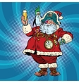 Santa Claus pirate wishes merry Christmas vector image