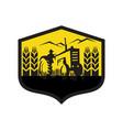 tractor harvesting wheat farm crest retro vector image vector image
