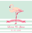 Save the Date - Wedding Card with Flamingo Birds vector image
