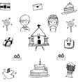 Set Wedding in doodle vector image