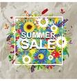 Summer sale design floral frame on cardboard vector image