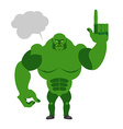 Green Goblin with a text bubble Finger shows up vector image