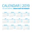 simple 2019 year calendar vector image