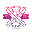 Surfing courses emblem logo over white vector image