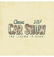 Vintage car show typography label design vector image