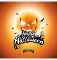 Halloween Party Flyer Design with pumpkin moon vector image