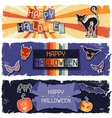 Happy Halloween grungy retro horizontal banners vector image