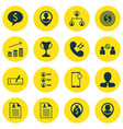 set of 16 management icons includes business goal vector image