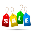 Colorful sale tags Concept of discount shopping vector image