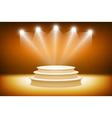 3d orange Illuminated stage podium for award vector image