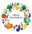 Flat Style Vegetables Set in Circle Shape vector image