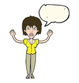 cartoon woman stressing out with speech bubble vector image