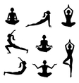 Meditation silhouettes on the white background vector image
