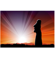 Easter Island Statue Moai In The Beams Of Sun vector image