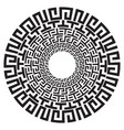 ancient greek round meander key black and white vector image