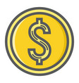 coin dollar filled outline icon business finance vector image