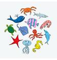 Cute hand drawn cartoon ocean animals vector image
