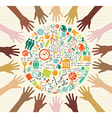Education global icons human hands vector image